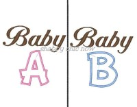 Baby A and Baby B Applique 4x4 ONLY