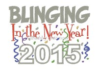 Blinging in the new year 2015 applique 5x7 ONLY