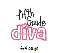 Fifth grade Diva Applique