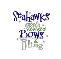 Seahawks girls wear bows and bling